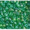 Seedbead 2/0 Transparent Light Medium Green Aurora Borealis